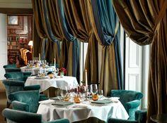 Stunning Andre Garrett Restaurant Clivedon House designed by Martin Hulbert. Photography Richard Booth. #silk #drapes