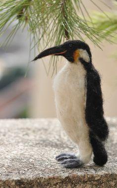 Needle Felted Wool Waldorf  Penguin by Daria Lvovsky via Etsy