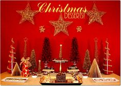 gold and cranberry christmas dessert table