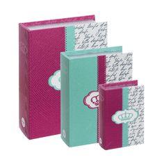 Conjunto Book Boxes - 3 Peças - Crown Roxo e Verde - 30x21,5 cm