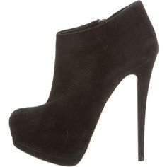 Pre-owned Giuseppe Zanotti Booties (325 SGD) ❤ liked on Polyvore featuring shoes, boots, ankle booties, black, black platform boots, platform boots, black zipper booties, suede boots and suede booties