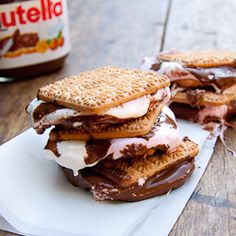 S'mores with Nutella.   Yum yum.  tennis Biscuits