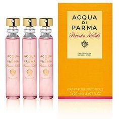Acqua di Parma Peonia Nobile Leather Purse Spray Refills (EDP, 3 x... ($79) ❤ liked on Polyvore featuring beauty products, fragrance, acqua di parma perfume, eau de parfum perfume, eau de perfume, edp perfume and acqua di parma