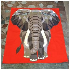 Elephant Abstractions Quilt pattern by Violet Craft, made by Karen O'Connor aka @ladykquilts, for Circa 15 Fabric Studio in Kirkland, WA. Kits available at www.circa15fabricstudio.com