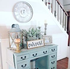 I love the idea repurposing a good piece of furniture. Check out this painted desk turned hall table! Rustic Farmhouse Decor, Rustic Decor, Modern Farmhouse, Farmhouse Style, Rustic Furniture, Painted Furniture, Industrial Furniture, Vintage Furniture, Deco Marine