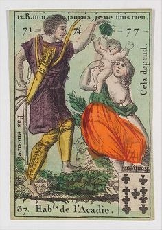 """Anonymous, French, 18th century. Hab.t de l'Acadie from Playing Cards (for Quartets) 'Costumes des Peuples Étrangers', 1700–1799. The Metropolitan Museum of Art, New York. Gift of the Estate of James Hazen Hyde, 1959(59.654.17(20)) 