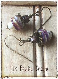 Lampwork Glass Earrings Burgundy Earrings Creme Earrings
