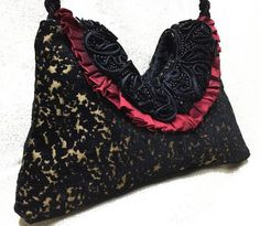 Evening Purse  Black and Red After 5 Bag  by RescuedOfferings