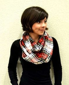 DIY infinity scarf made from old flannel pj pants
