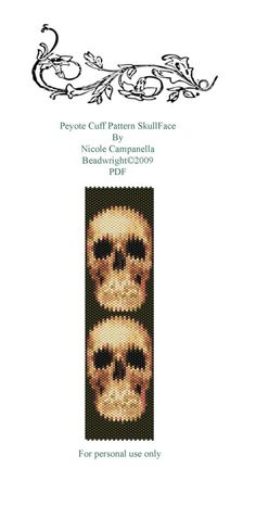 Bead Peyote Cuff Pattern Skull Face PDF by Beadwright on Etsy, $6.00
