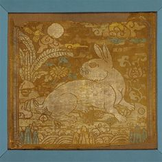 C18th Chinese silk 'festival badge' of a rabbit looking at the moon