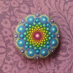 Jewel Drop Mandala Painted Stone- hand painted by Elspeth McLean