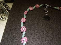 Daisy chain choker necklace with extender and extender charm. flower necklace by StrungOnLove on Etsy