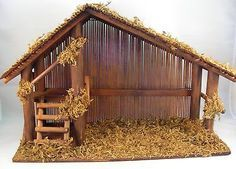 Vintage Wood Nativity Stable W Reed Roof Back, Twigs, Loft, Moss, Made Taiwan Christmas Grotto Ideas, Christmas Crib Ideas, Church Christmas Decorations, Christmas Nativity Scene, Christmas Porch, Christmas Projects, Xmas, Crib Decoration, Nativity Stable