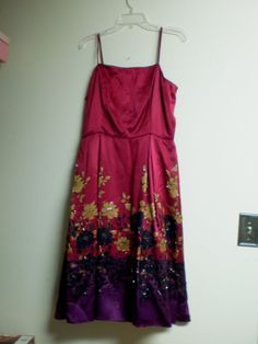 Adrianna Pappel size 12 red purple 100% silk beaded dress  #AdriannaPapell #Shift #Cocktail