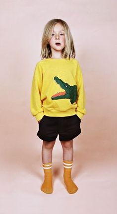 Yellow Crocodile sweater by Mini Rodini