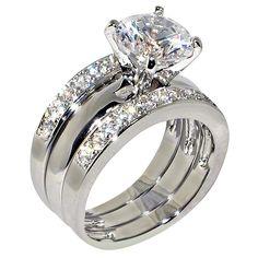 3.47 Ct. Round Cubic Zirconia Cz Solitaire Bridal Engagement Wedding 3 Piece Ring Set (5)