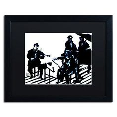 "Trademark Art ""Chamber Jazz"" by Lowell S.V. Devin Framed Painting Print in Black Mat Size: 16"" H x 20"" W x 0.5"" D"