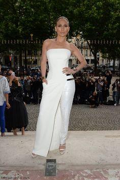 Strike a pose! Jennifer Lopez in Atelier Versace white dress at Paris HC fall 2014 fashion week.