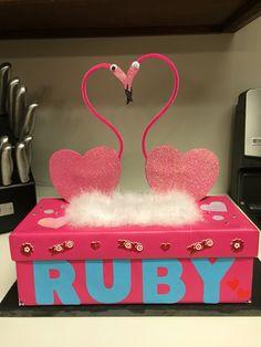 Pink flamingo Valentine box