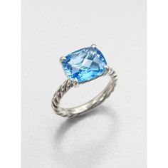 David Yurman Blue Topaz and Sterling Silver Ring ($395) ❤ liked on Polyvore