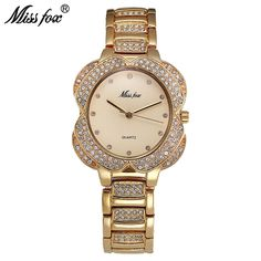 US $141.75 - Miss Fox Flower Womens Watches Women Fashion Watch 2017 Golden Clock Charms Diamond Gold Quartz Watch Relogio Feminino Dourado