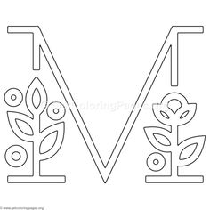 Modern Flower Alphabet Letter M Coloring Pages Letter A Coloring Pages, Adult Coloring Pages, Embroidery Letters, Embroidery Motifs, Hand Lettering Alphabet, Calligraphy Letters, Typography Poster, Graphic Design Typography, Letra Drop Cap