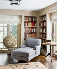 33 The Best Corner Bookshelves Design Ideas For Living Room Decor - Living room furniture plays an important role in giving a cohesive and seamless look to your home decor. If you place an item of beautifully-crafted f. Living Room Chairs, Living Room Decor, Sitting Room Ideas Cozy, Home, Home Library Design, Home Interior Design Images, Reading Nook, Corner House, Corner Reading Nooks