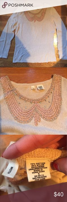 Anthropologie Embellished Pullover Sweater Blush colored Anthropologie (Moth) sweater in a fine gage. Features full length sleeves and an intricate neckline design with small gems. Anthropologie Sweaters Crew & Scoop Necks