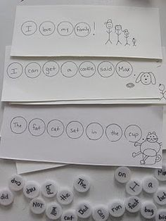 Water Bottle Lids Sentences.  The children try to find the correct words and place them on top of the circles that match in order to form the correct sentences.