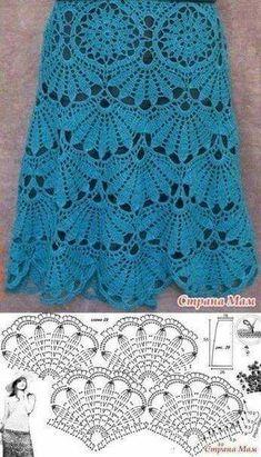Fabulous Crochet a Little Black Crochet Dress Ideas. Georgeous Crochet a Little Black Crochet Dress Ideas. Crochet Skirt Pattern, Crochet Lace Edging, Crochet Skirts, Crochet Diagram, Crochet Stitches Patterns, Crochet Blouse, Crochet Chart, Irish Crochet, Crochet Designs