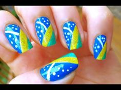 Unhas Decoradas Bandeira do Brasil Copa do Mundo 2014 - World Cup Nail Art