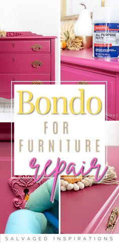 BONDO For Furniture Repairs | Plum Crazy Makeover | Salvaged Inspirations #siblog #salvagedinspirations #paintedfurniture #furniturepainting #DIYfurniture #furniturepaintingtutorials #howto #furnitureartist #furnitureflip #salvagedfurniture #furnituremakeover #beforeandafterfurnuture #paintedvintagefurniture #roadsiderescues Salvaged Furniture, Furniture Repair, Furniture Makeover, Vintage Furniture, Painted Furniture, Diy Furniture, Diy Projects To Try, Toy Chest, Plum