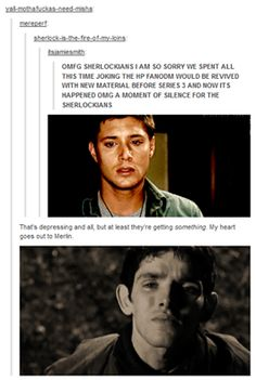 My emotions are so conflicted right now because I am a part of all three fandoms (and Supernatural, because there is a gif of Dean up there too).