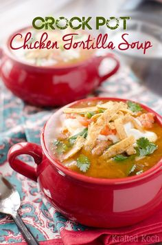 Crock Pot Chicken Tortilla Soup - Krafted Koch - A flavorful and healthy soup recipe made in your slow cooker.