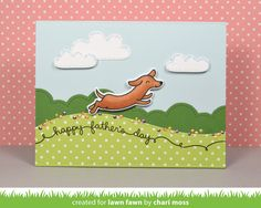 Lawn Fawn - Critters at the Dog Park, Celebration Scripty Sayings, Puffy Cloud Borders, Stitched Hillside Borders, Spring Showers, Let's Polka in the Meadow, Noble Fir cardstock _  card by Chari for the Lawn Fawn blog: Lawn Fawn Intro: Celebration Scripty Sayings