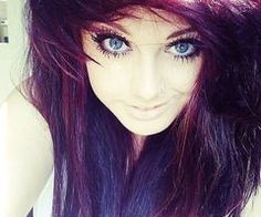 Her hair color! Dark maroon, purple and red: i love it! Goes amazing with her eyes too! Pretty Scene Girls, Epic Hair, Awesome Hair, Emo Scene Hair, Dark Red Hair, Ombre Hair Color, Pastel Hair, Dream Hair, Her Hair