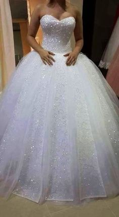 Charming Tulle Ball Wedding, Appliques Gown Wedding Dress,Sparkly Pearls Long Wedding Dresses,White Bridal Dress is part of Ball gowns wedding Shipping time rush order within 15 days to arri - Lace Bridal, White Bridal Dresses, Princess Wedding Dresses, Dream Wedding Dresses, Bridal Gowns, Wedding Gowns, Tulle Wedding, Wedding Dresses With Bling, Wedding Dress Sparkle