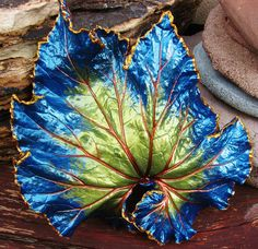 Raspberry Swirl Begonia Concrete Leaf Casting with FREE display stand. $26.00, via Etsy.