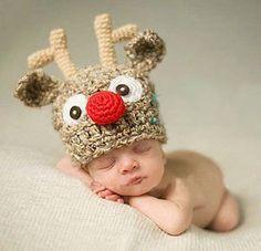 Baby Xmas Christmas Deer Elk Horns Beanie Crochet  Hat Knit Photograph Prop Cap #Handmade #Home