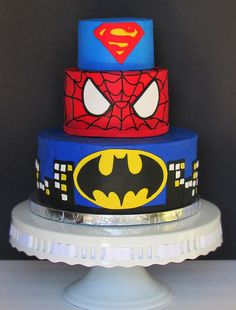 Superhero cake, Superman, Spiderman, Batman. Marvel Comics Cake.