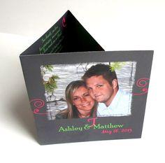 Grey Lime Green & Pink Folded Wedding by gwenmariedesigns on Etsy, $3.50