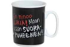 """Kiroileva Siili -muki tekstillä """"En minoo ilikiä..."""" /  5,20€ Van, Mugs, Tableware, Dinnerware, Tumblers, Tablewares, Mug, Vans, Dishes"""