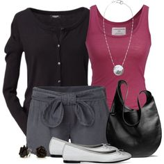 """Cardigan, Tank and Shorts"" by wishlist123 on Polyvore"