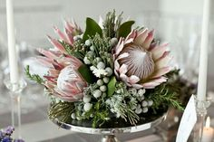 Beautiful Centerpiece Comprised Of: King Protea, Silver Brunia, Fresh Rosemary, Greenery & Foliage Flor Protea, Protea Bouquet, Protea Flower, Protea Centerpiece, Floral Centerpieces, Wedding Centerpieces, Wedding Decorations, Centrepieces, Calla Lilies