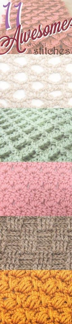 11 Awesome Crochet Stitches - Broomstick Lace, Crocodile Stitch, Star (Daisy) Stitch, Boxed Puff Stitch, Waffle Stitch, Intertwined Lacets Stitch, Cross-Over Long Double Crochet, Peacock Fan Stitch, Primrose Stitch, Bullion Stitch, Basketweave Stitch. by kathy.b.poped. jwt