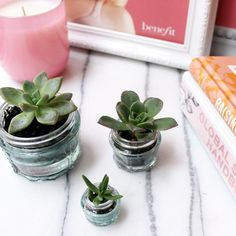 Upcycle your b.right skincare jars into mini potted plants for your desk at work! #genius #benefitbeauty