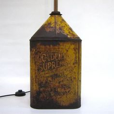 Reclaimed an old oil can and made a simple lamp out of it.   For ...