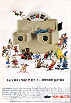 See dozens of vintage View-Master reels & viewers: Classic toys that made color pictures come to life - Click Americana Vintage Advertisements, Vintage Ads, Vintage Stuff, Childhood Toys, Childhood Memories, Nostalgia, View Master, Beautiful Fairies, Classic Cartoons