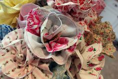 TUTORIAL - Shabby Fabric Flowers (more examples)